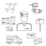 Postman and shipping sketch icons Stock Photos