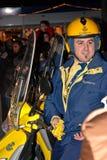 Postman Throwing Candy - Reyes Magos Parade Stock Images