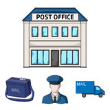 The postman in uniform, mail machine, bag for correspondence, postal office.Mail and postman set collection icons in Royalty Free Stock Photo