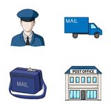 The postman in uniform, mail machine, bag for correspondence, postal office.Mail and postman set collection icons in Royalty Free Stock Image