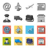 The postman in uniform, mail machine, bag for correspondence, postal office.Mail and postman set collection icons in. Monochrome,flat style vector symbol stock Stock Photography
