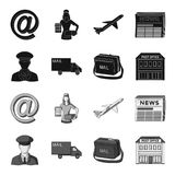 The postman in uniform, mail machine, bag for correspondence, postal office.Mail and postman set collection icons in. Black,monochrome style vector symbol stock Stock Photo
