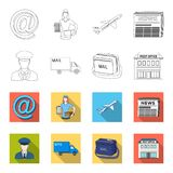 The postman in uniform, mail machine, bag for correspondence, postal office.Mail and postman set collection icons in. Outline,flet style vector symbol stock Royalty Free Stock Photography