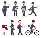 Postman vector mailman delivers mails in postbox or mailbox and post character carries mailed letters in letterbox. Illustration set postal delivery service Royalty Free Stock Images