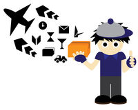 Postman Wallpaper. Postman shipping cargo illustration wallpaper Royalty Free Stock Photos