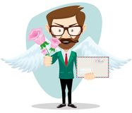 Postman with wings and flowers, vector Royalty Free Stock Images