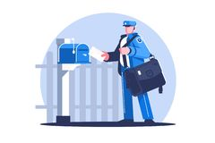 Free Postman With Bag Delivering Letters Royalty Free Stock Images - 148413059