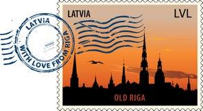 Postmark from Latvia stock illustration