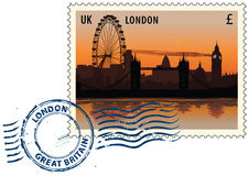 Postmark from London. Postmark with night sight of London cityscape Stock Photo