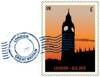 Postmark from London. Postmark with night sight of London Big Ben tower Stock Image