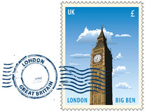 Postmark from London. Postmark with night sight of London Big Ben tower Royalty Free Stock Photo