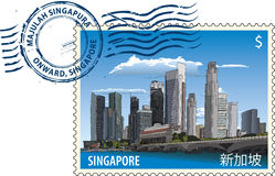 Postmark from Singapore. Postmark with view of Singapore cityscape and rubber stamp Royalty Free Stock Images
