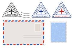Postmarks конверта, штемпеля и треугольника Почтовый комплект иллюстрация штока