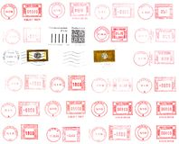 Postmarks and labels Stock Photo
