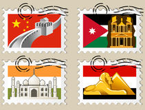 Postmarks - sights of the world series Royalty Free Stock Photo
