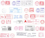 Postmarks from western Europe. Colorful postmarks from western Europe Stock Image