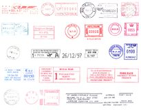 Postmarks from the world Stock Image