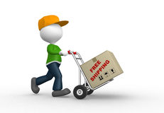 Postmen. 3d people - man, person with hand truck and packages. Postman. Free shipping Stock Images