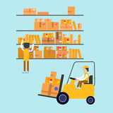 Postmen Laid Parcels. Worker on Forklift. Post Office. Postal Storage. Vector illustration Stock Photo