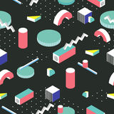 Postmodern 80s style seamless pattern. 3d isometric background. Stock Images