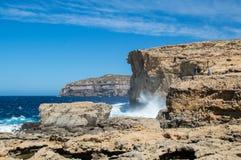 Posto in cui era Azure Window dopo il crollo nell'isola di Gozo, Malta Fotografia Stock