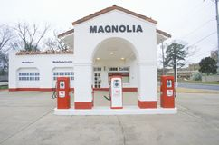 Posto de gasolina histórico do petróleo de Mobil Fotografia de Stock Royalty Free