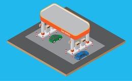 Posto de gasolina isométrico com carros, bomba de gasolina na estrada ilustração do vetor