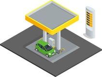 Posto de gasolina pequeno Carros da estação do reenchimento da gasolina do petróleo do gás Vetor infographic isométrico do concei Fotos de Stock