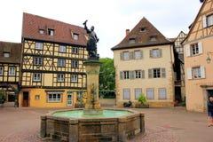 Posto di Colmar con la statua e la fontana fotografia stock libera da diritti
