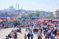 Posto di Costantinopoli vicino al ponte di Galata Fotografia Stock