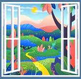 Posto di fantasia con le foglie meravigliose, radure, fiume Una finestra aperta nel mondo dei miracoli e delle fantasie, illustra royalty illustrazione gratis