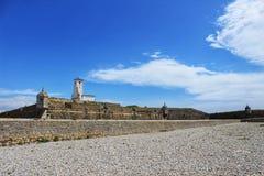 Posto di guardia della fortezza sulla spiaggia nel villaggio di Peniche Immagini Stock Libere da Diritti