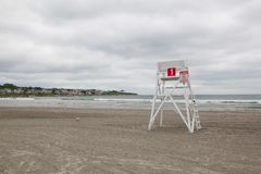 Posto di guardia sulla spiaggia vuota in Middletown, Rhode Island, U.S.A. Fotografia Stock Libera da Diritti