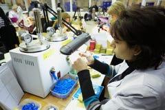 Posto di lavoro ad una delle divisioni di fabbricazione Fotografia Stock