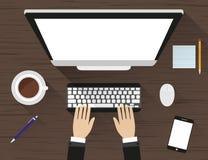 Posto di lavoro ad una tavola di legno con ombra Monitor, tastiera, topo del computer, caffè e smartphone royalty illustrazione gratis
