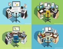 Posto di lavoro al computer delle professioni differenti Programmatore, progettista Photographer, copywriter Vettore illustrazione di stock