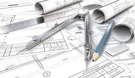 Posto di lavoro architettonico di tema blu illustrazione di stock