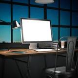 Posto di lavoro con il computer su una tavola di legno rappresentazione 3d Fotografia Stock Libera da Diritti