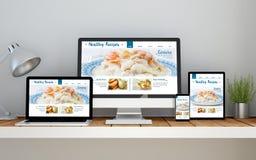 posto di lavoro con il sito Web rispondente online di ricette sane sul devi Immagine Stock