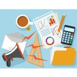 Posto di lavoro con l'oggetto ed i documenti dell'ufficio Immagine Stock