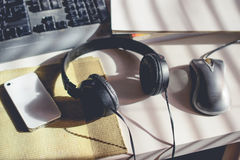 Posto di lavoro con musica Immagine Stock