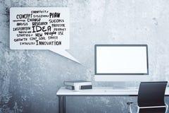 Posto di lavoro con testo motivazionale Immagini Stock Libere da Diritti