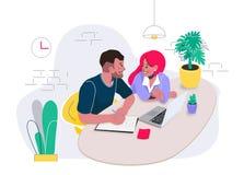 Posto di lavoro di Coworking in ufficio con l'uomo creativo e la donna che parlano dei dettagli del progetto Illustrazione piana  immagini stock libere da diritti