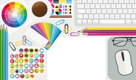 Posto di lavoro creativo Desktop dell'artista di vista superiore illustrazione II royalty illustrazione gratis