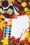 Posto di lavoro del concetto di Autumn dell'artista Immagini Stock Libere da Diritti