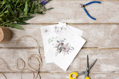 Posto di lavoro del decoratore, fiorista Sketch del mazzo Immagine Stock Libera da Diritti