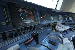 Posto di lavoro del driver di un treno Fotografie Stock Libere da Diritti