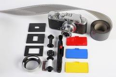 posto di lavoro del fotografo Accessori della foto, retro macchina fotografica Fotografia Stock Libera da Diritti