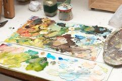 Posto di lavoro del pittore Immagine Stock