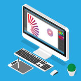 Posto di lavoro del progettista Illustrazione isometrica di vettore Immagine Stock